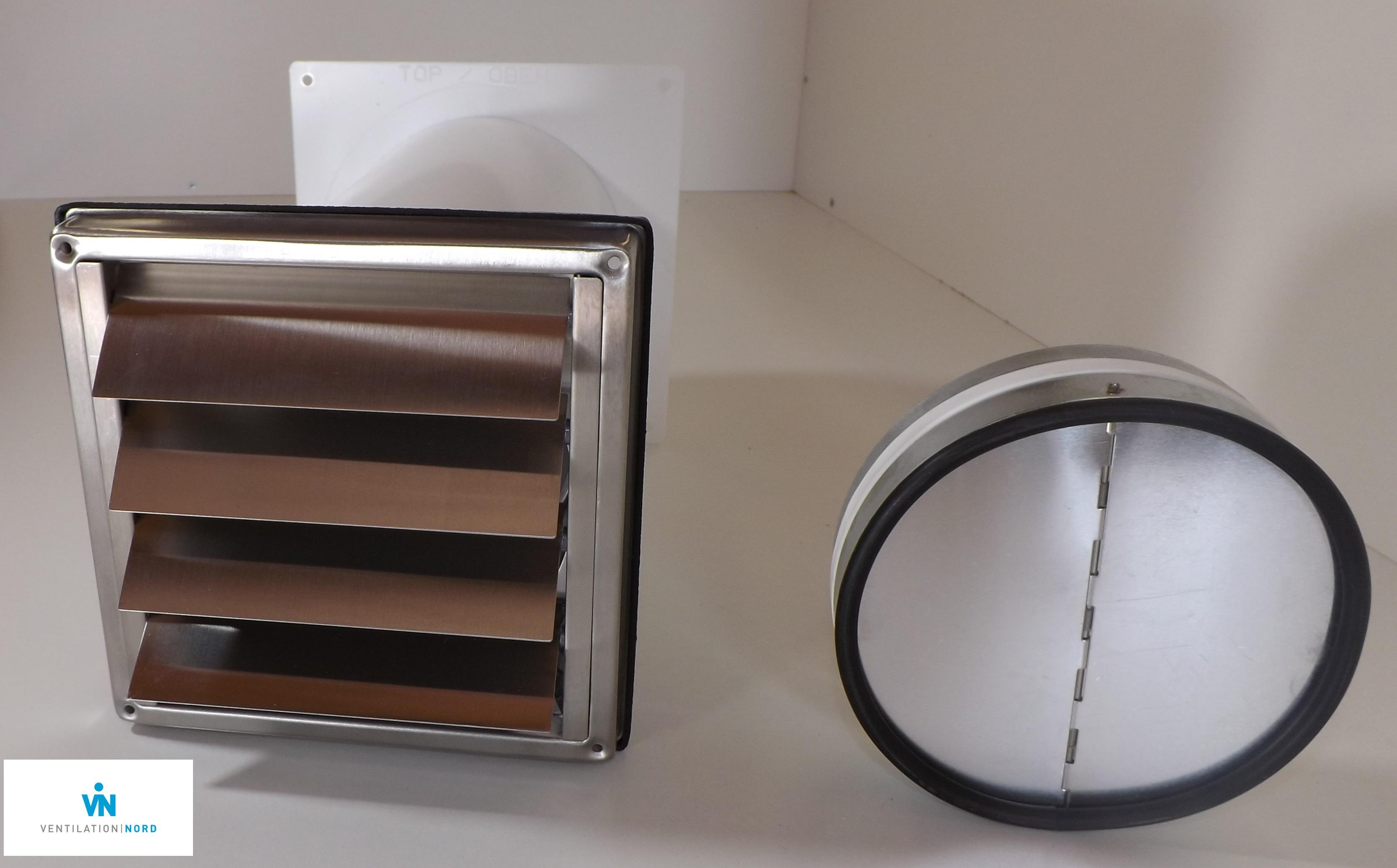 mauerkasten 150 dunstabzug edelstahl r ckstauklappe flachkanal 220x90mm set s6i ebay. Black Bedroom Furniture Sets. Home Design Ideas